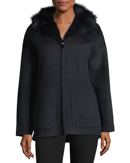Belle Fare Reversible Wool-Blend & Fur Jacket