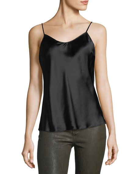 Cicely Scoop-Neck Silk Slip Tank