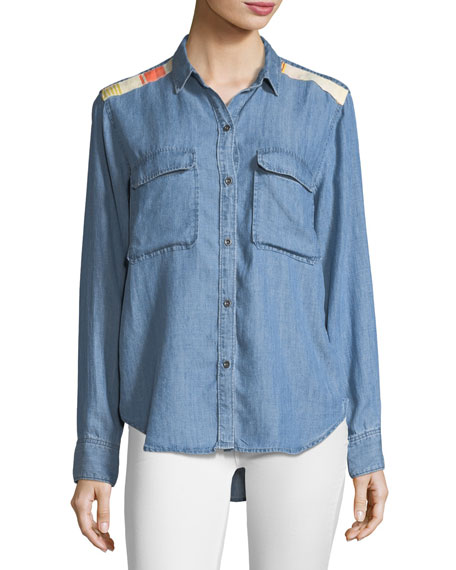 Jimi Button-Front Chambray Shirt w/ Embroidery