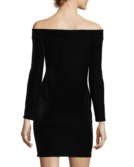Stroke of Midnight Off-the-Shoulder Velvet Cocktail Dress