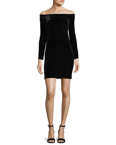 Stroke of Midnight Off-the-Shoulder Velvet Cocktail Dress