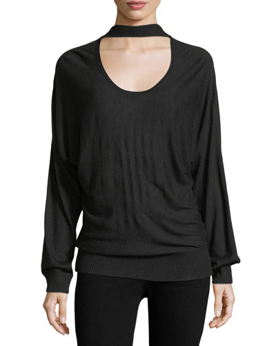 Kenton Long-Sleeve Cutout Sweater