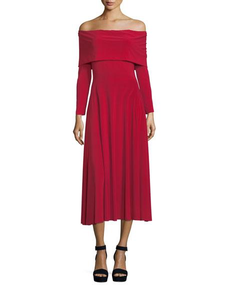Off-the-Shoulder Long-Sleeve Flared Midi Dress