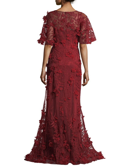 3-D Floral Short-Sleeve Evening Gown