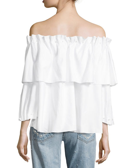 Ramponi Tiered Off-the-Shoulder Shirt w/ Pearlescent Trim