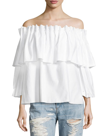 Jonathan Simkhai Ramponi Tiered Off-the-Shoulder Shirt w/