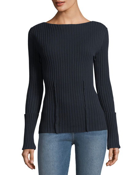 FRAME Boat-Neck Long-Sleeve High-Twist Cotton Sweater