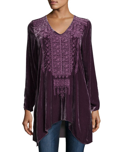 Sassi Long-Sleeve Velvet Tunic, Petite