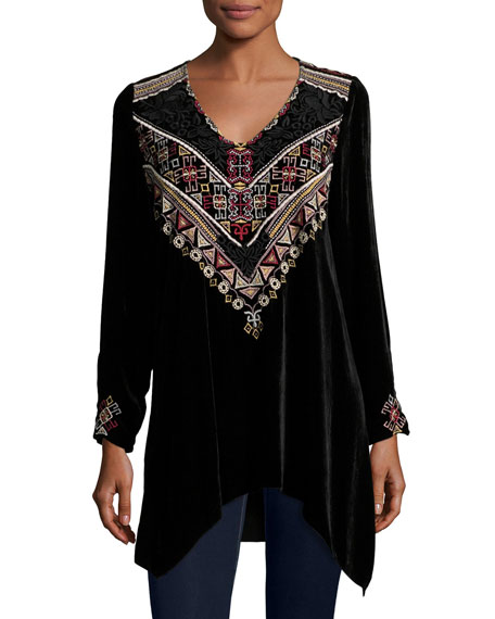 Johnny Was Landon Embroidered Velvet Tunic, Petite