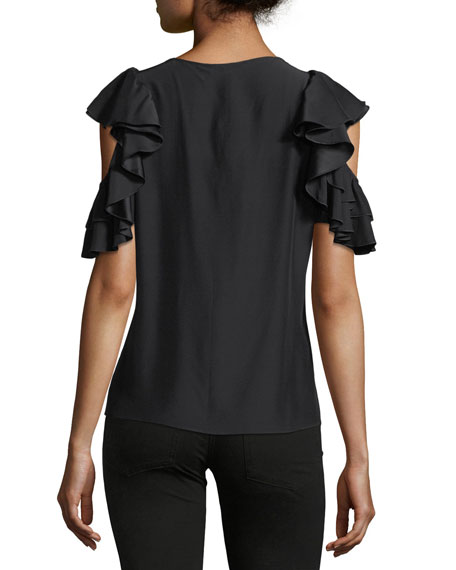 Brandie Jewel-Neck Ruffled Silk Blouse