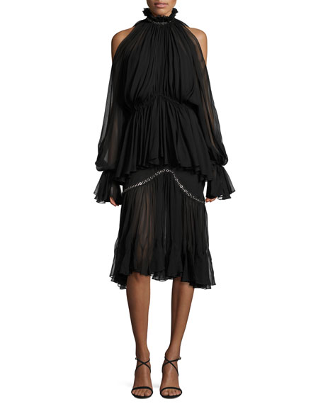Jonathan Simkhai Two-Tier Pleated Cold-Shoulder Cocktail Dress w/