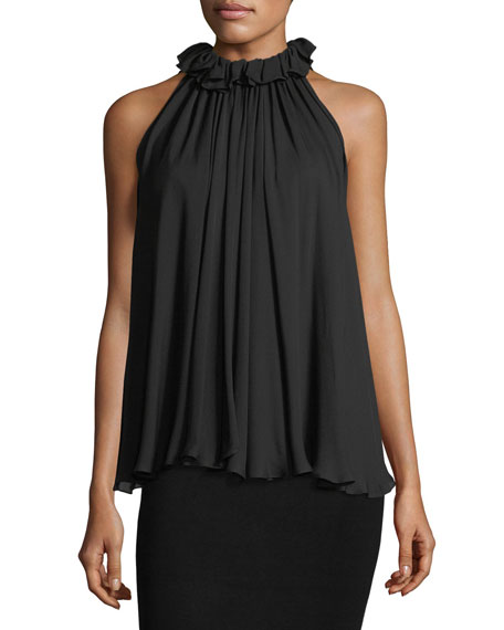 Jonathan Simkhai High-Neck Ruffled Sleeveless Silk Top