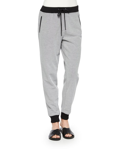 Joan Vass Two-Tone Jog Pants, Petite