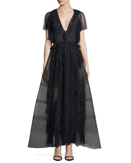 Nina Deep-V Ruffled Organza Evening Gown