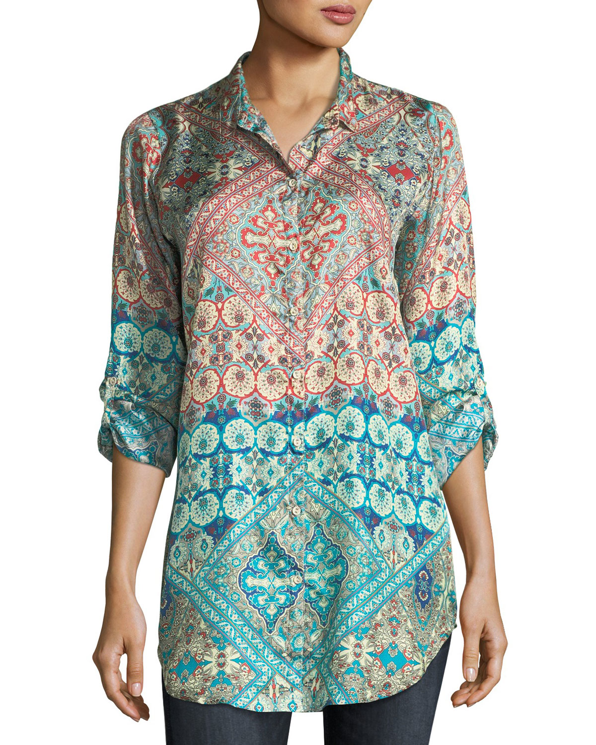 35c6ca50bf0 Johnny Was Paolomo Button-Front Silk Tunic | Neiman Marcus
