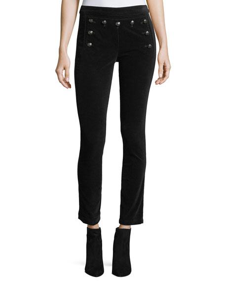 Veronica Beard Jane Skinny Velvet Sailor Pants w/
