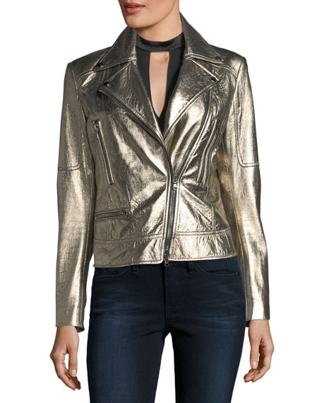 Mica Metallic Leather Biker Jacket