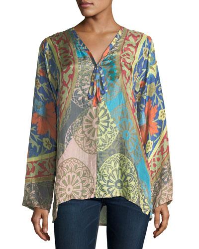 Peppa Printed Silk Georgette Top, Plus Size