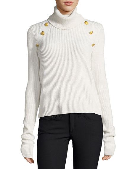 Veronica Beard Pearson Turtleneck Ribbed Wool Sweater w/