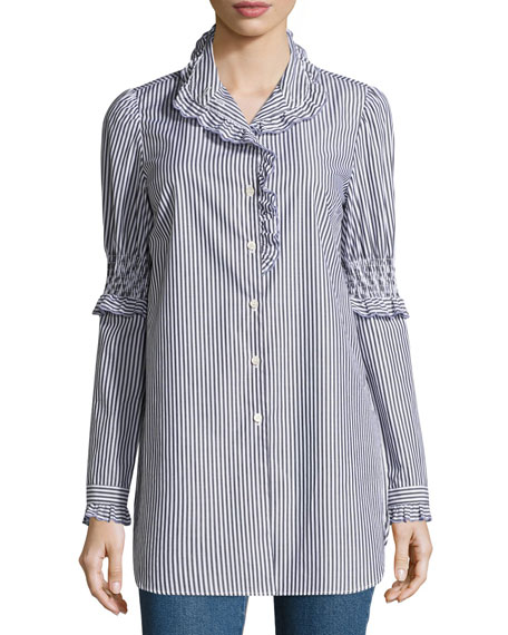 Mock-Neck Button-Front Striped Tunic Shirt