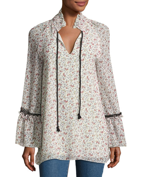 See by Chloe Floral-Print Chiffon Tunic Top w/