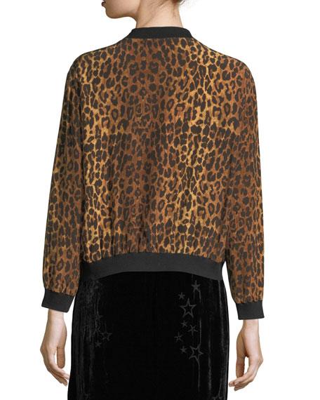 Leopard-Print Silk Bomber Jacket, Plus Size