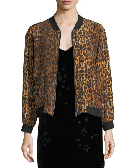 Johnny Was Leopard-Print Silk Bomber Jacket, Petite