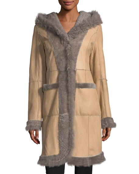 Reversible Fitted Lamb Shearling Long Coat w/ Oversized Hood