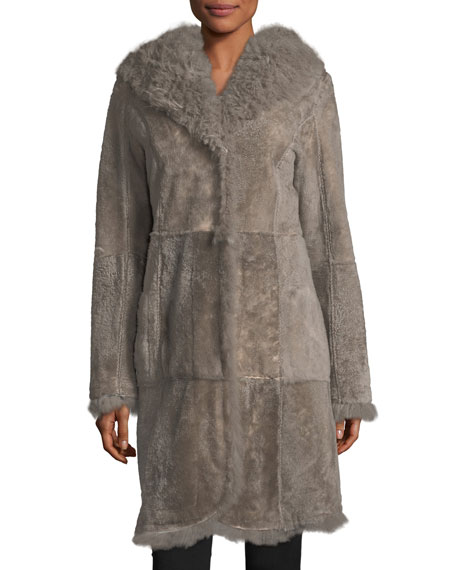 Belle Fare Reversible Fitted Lamb Shearling Long Coat