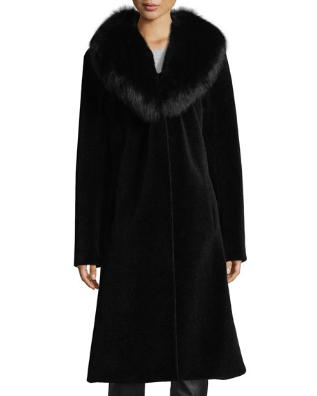 Belle Fare Long Single-Button Sheep Fur Coat w/