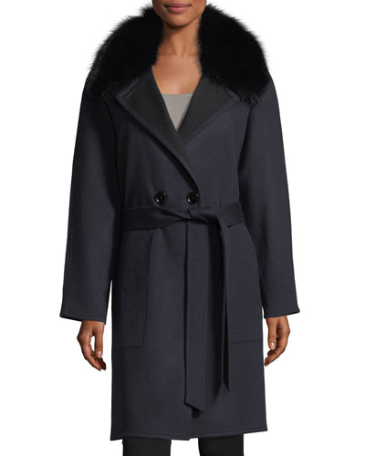 One-Button Fox-Fur Wool Cashmere Pea Coat