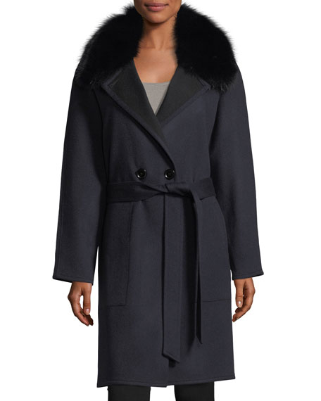 Sofia Cashmere Double-Faced Raglan Sleeve Fox-Fur Wrap Coat