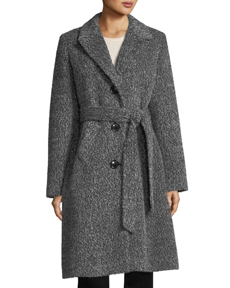 Fox Shawl-Collar Belted Three-Button Alpaca Boucle Coat