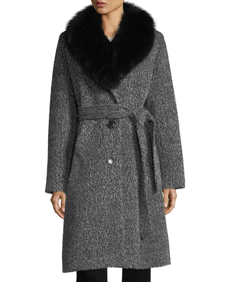 Sofia Cashmere Fox Shawl-Collar Belted Three-Button Alpaca Boucle