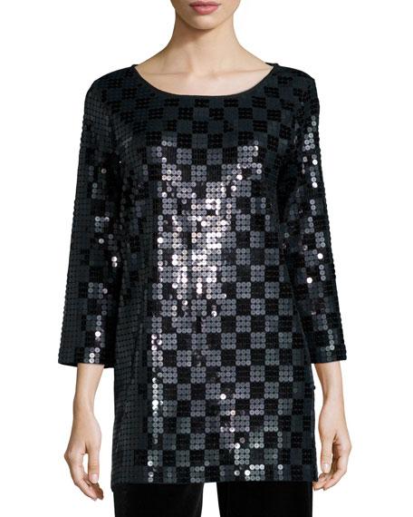 Joan Vass 3/4-Sleeve Square Sequined Tunic, Petite