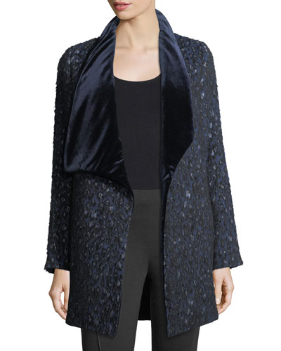 Christina Textured Velvet-Collar Open Coat