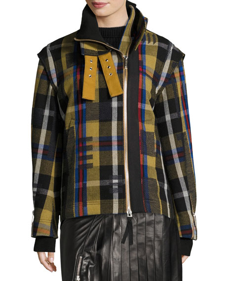 Public School Una Plaid Wool-Knit Jacket w/ Removable