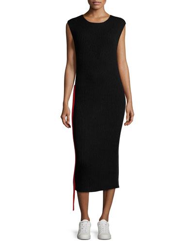 Side-Stripe Sleeveless Hooded Sweatshirt Dress
