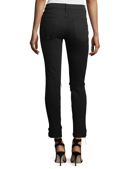 Le High Mid-Rise Raw Stagger-Hem Skinny-Leg Jeans