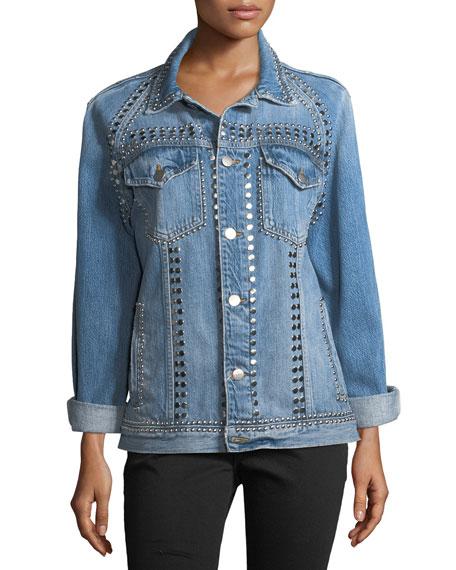 Le-Studded Button-Front Denim Jacket