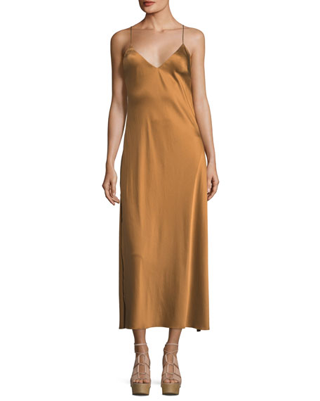 Loveshackfancy Kate V-Neck Satin Cocktail Slip Dress