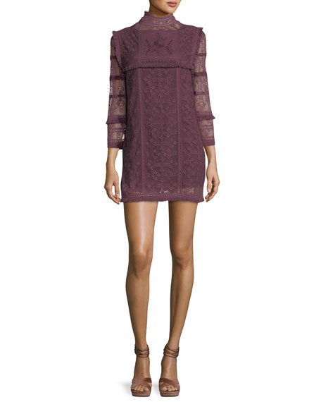 LOVESHACKFANCY Gia Crochet Lace Long-Sleeve Babydoll Dress in Purple