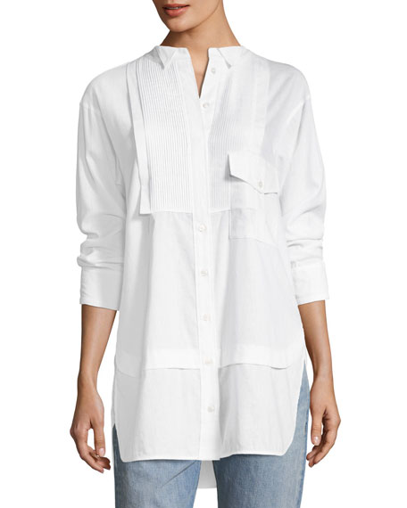 Burberry Magpie Linen/Cotton Pintucked Shirt