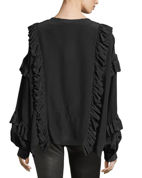 Dancing Peasant Deep-V Ruffled Blouse