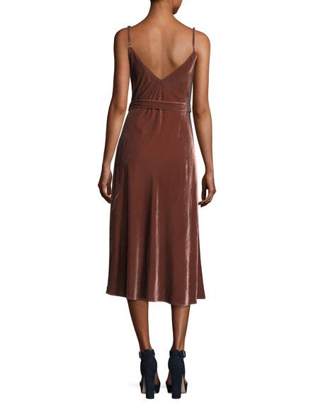 Velvet V-Neck Sleeveless Midi Slip Dress