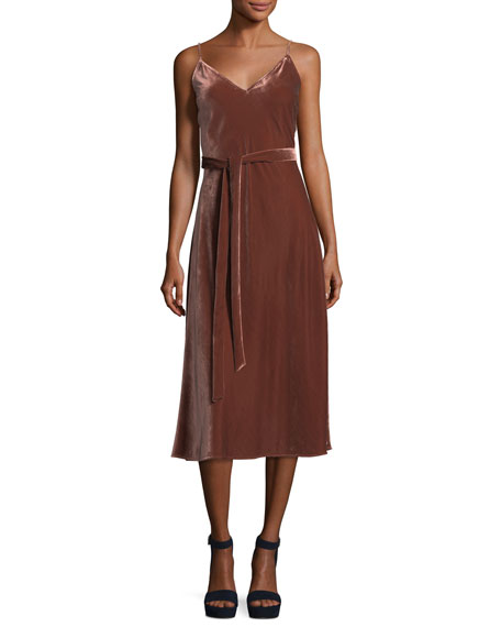 FRAME Velvet V-Neck Sleeveless Midi Slip Dress