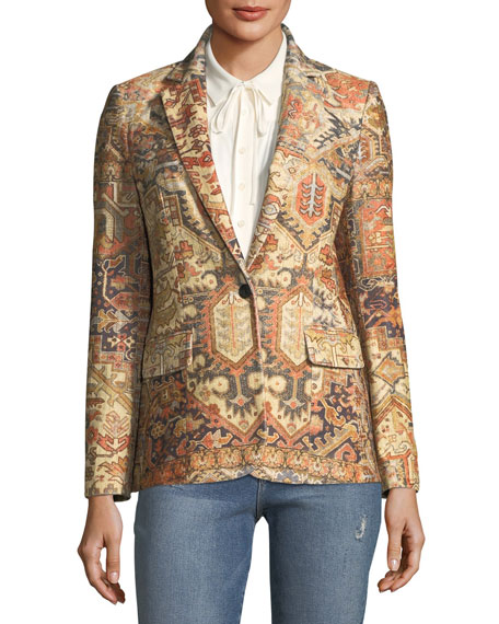 Persian Single-Breasted Printed Blazer