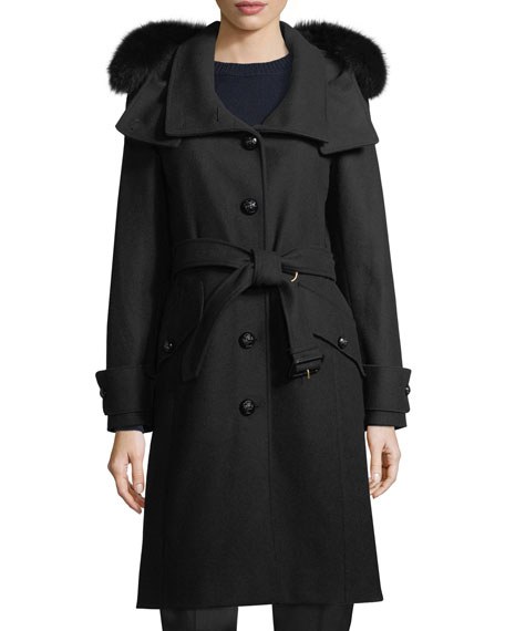 Burberry Claybrook Lightweight Wool Fur-Hood Coat