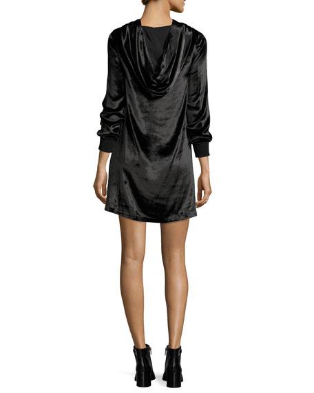Baron A-Line Hooded Velvet Dress