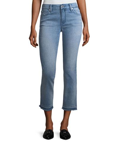 Cropped Jeans W/ Frayed Cuffs